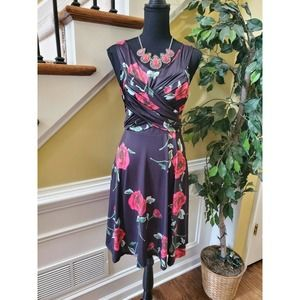 Black and Pink Retro Floral Dress- Large
